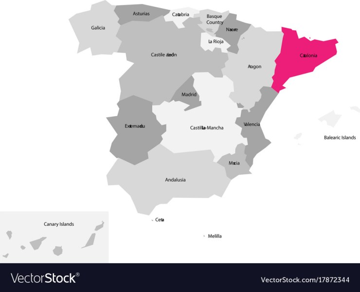 Map of spain devided to 17 administrative vector image on VectorStock