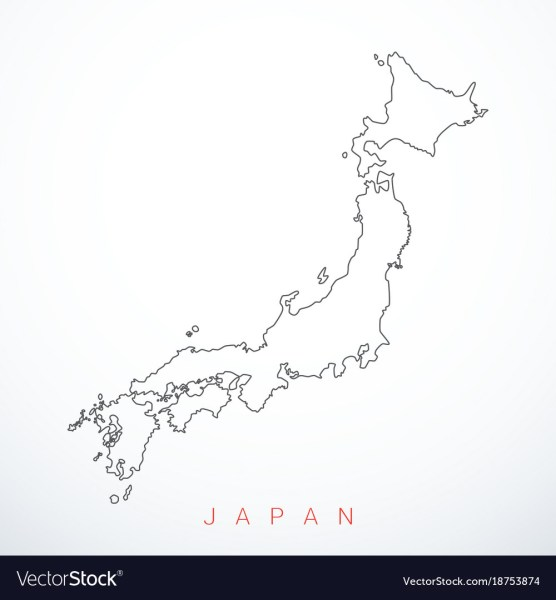 Contour japan map Royalty Free Vector Image   VectorStock Contour japan map vector image