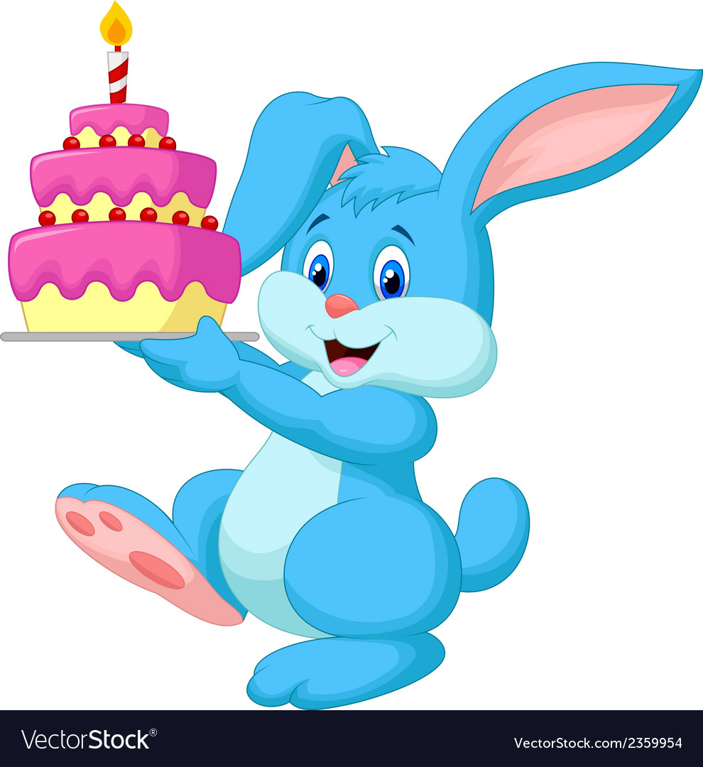 Rabbit Cartoon With Birthday Cake Royalty Free Vector Image