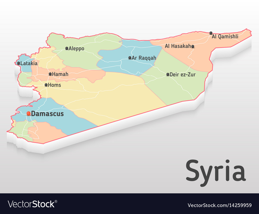 Syria map 3d with main cities and Royalty Free Vector Image Syria map 3d with main cities and vector image