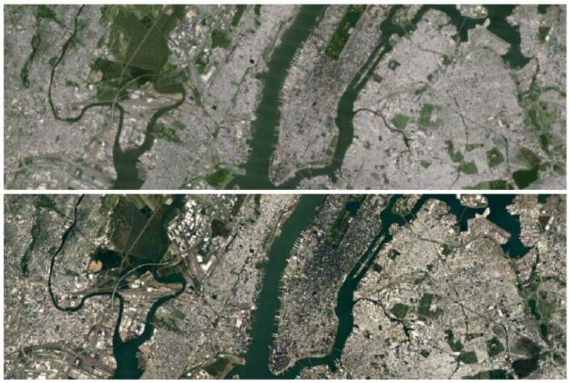Google Maps and Google Earth now have insanely high res satellite     Google Earth New York City Landsat 8 satellite imagery