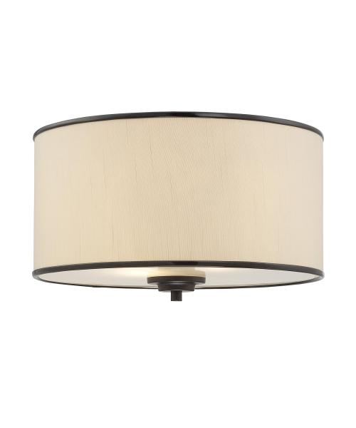 Savoy House 6 1500 14 Grove 14 Inch Wide Flush Mount   Capitol     magnifying glass image Shown in English Bronze finish and Cream Fabric shade