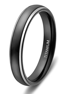 4mm   Women s Titanium Wedding Bands  Black Ring with Two Tone      109 95