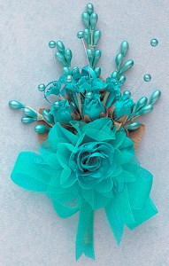 Flowers   Silk Corsage Flowers   7  Bridal Corsage Silk Spray     7  Aqua Blue Bridal Corsage Silk Spray Flowers   Pack