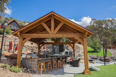 Big Outdoor Pavilion Kits Backyard Designs Rough Sawn