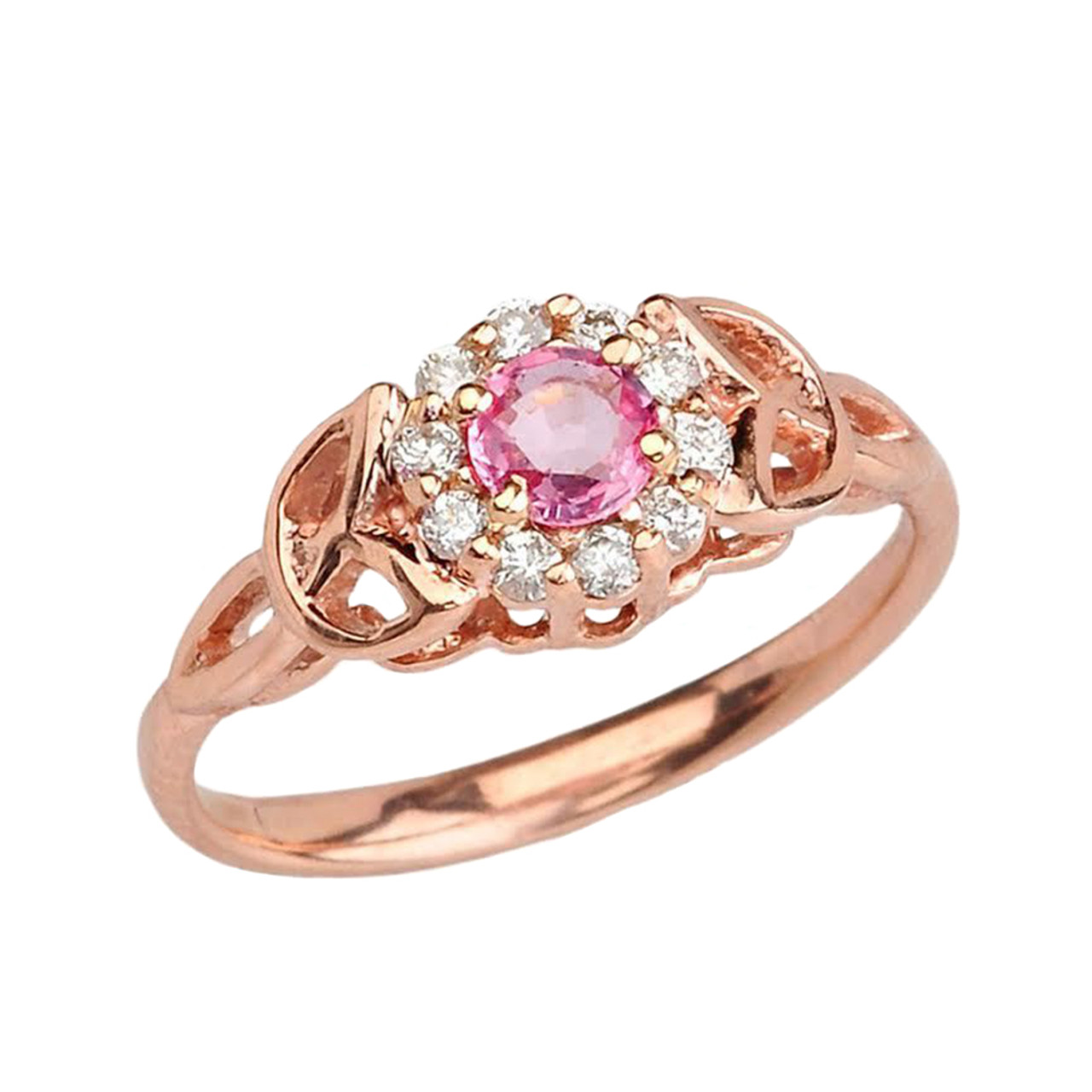 Sapphire Gold Claddagh Rings Rose Pink