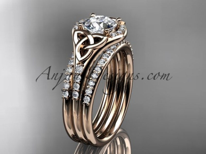 Rose Gold Diamond Ring  Celtic Double Band Ring CT7126S