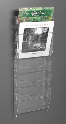 Clear Acrylic Note Card Ladder W 6 Vertical Pockets