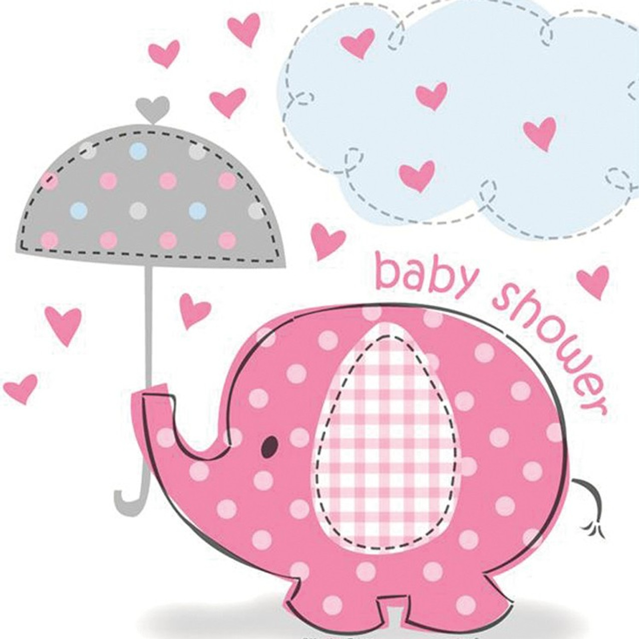 Elephant Pink Baby Plates Shower