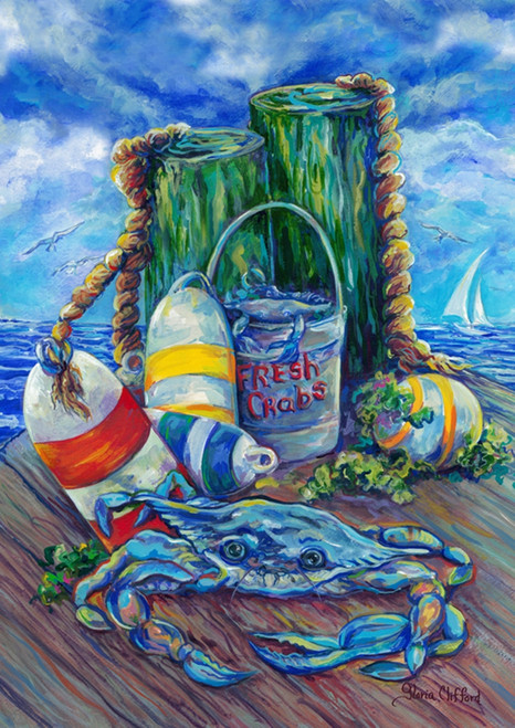 Blue Crab On Pier With Buoys 18 X 12 5 Inches Garden Flag