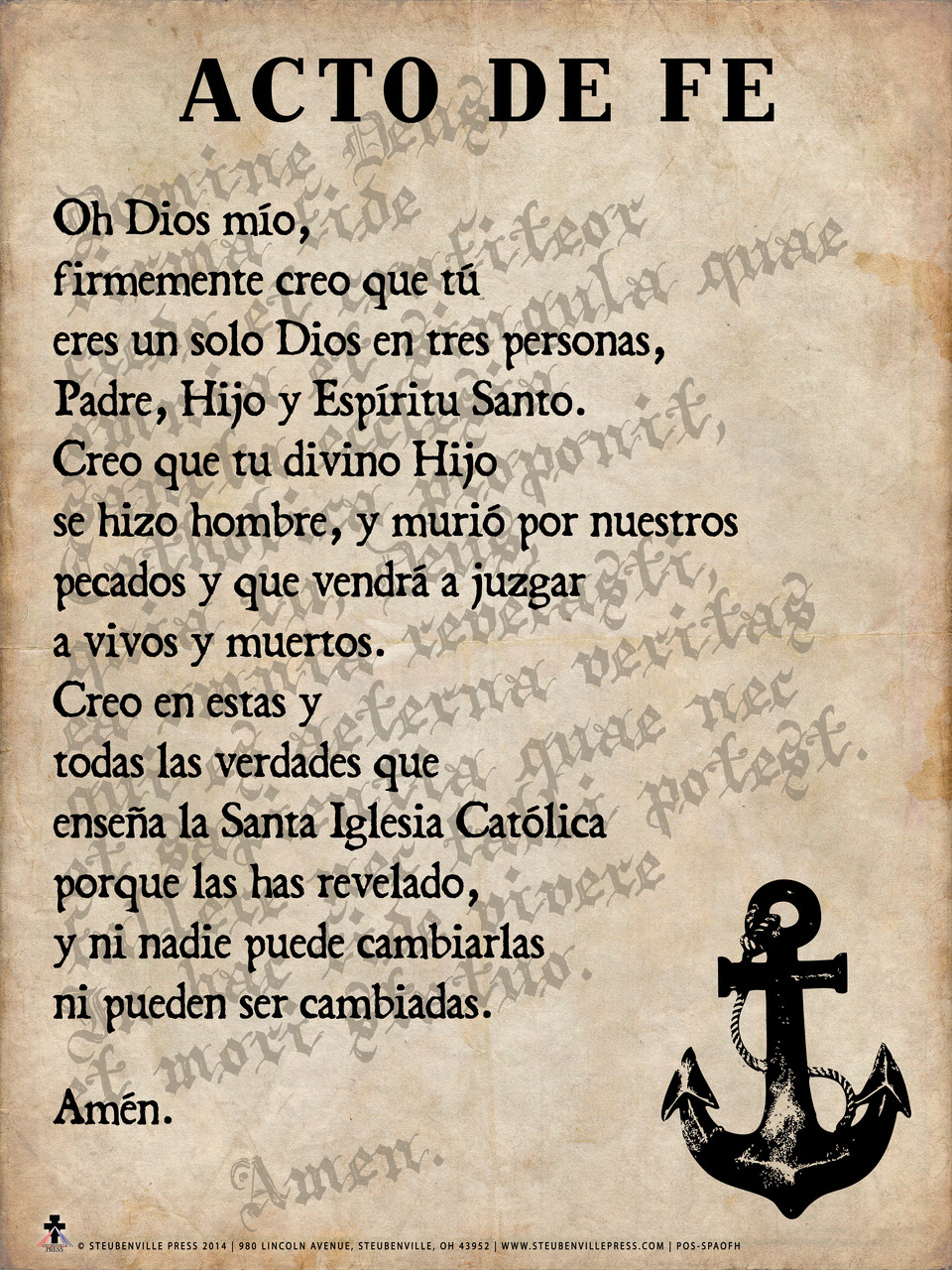 Spanish Act of Faith Poster - Catholic to the Max - Online ...