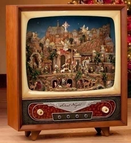 Christmas Animated And Musical Retro Television Set
