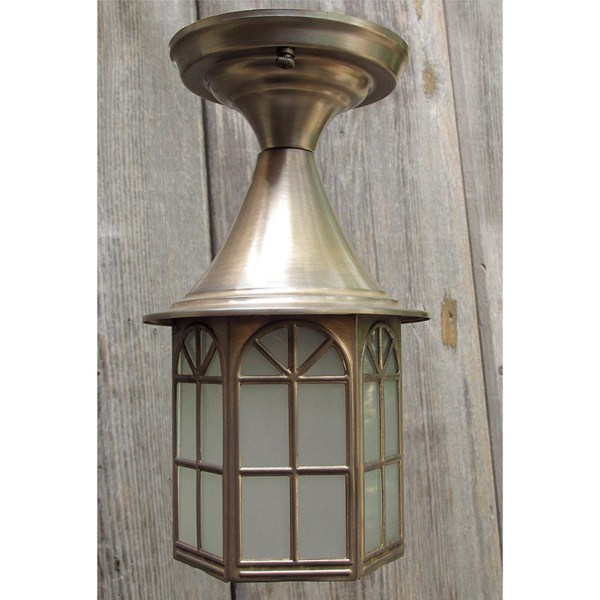 L15247   Antique Brass Colonial Revival Style Exterior Porch Light