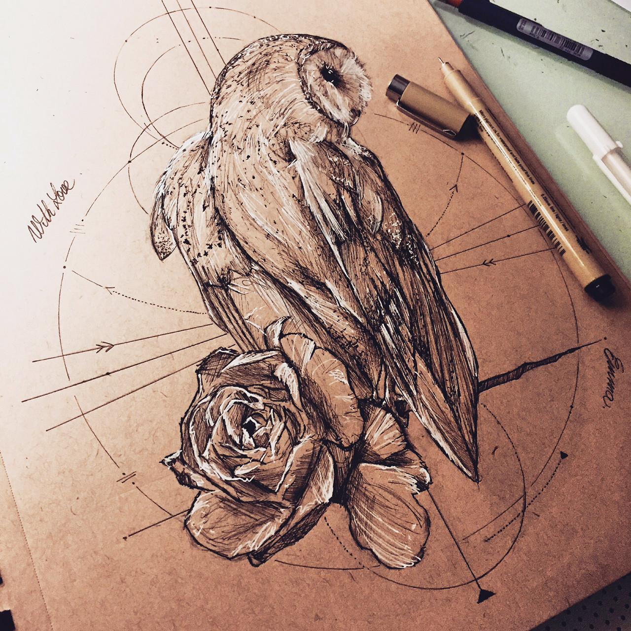 barn owl tattoo - 736×736