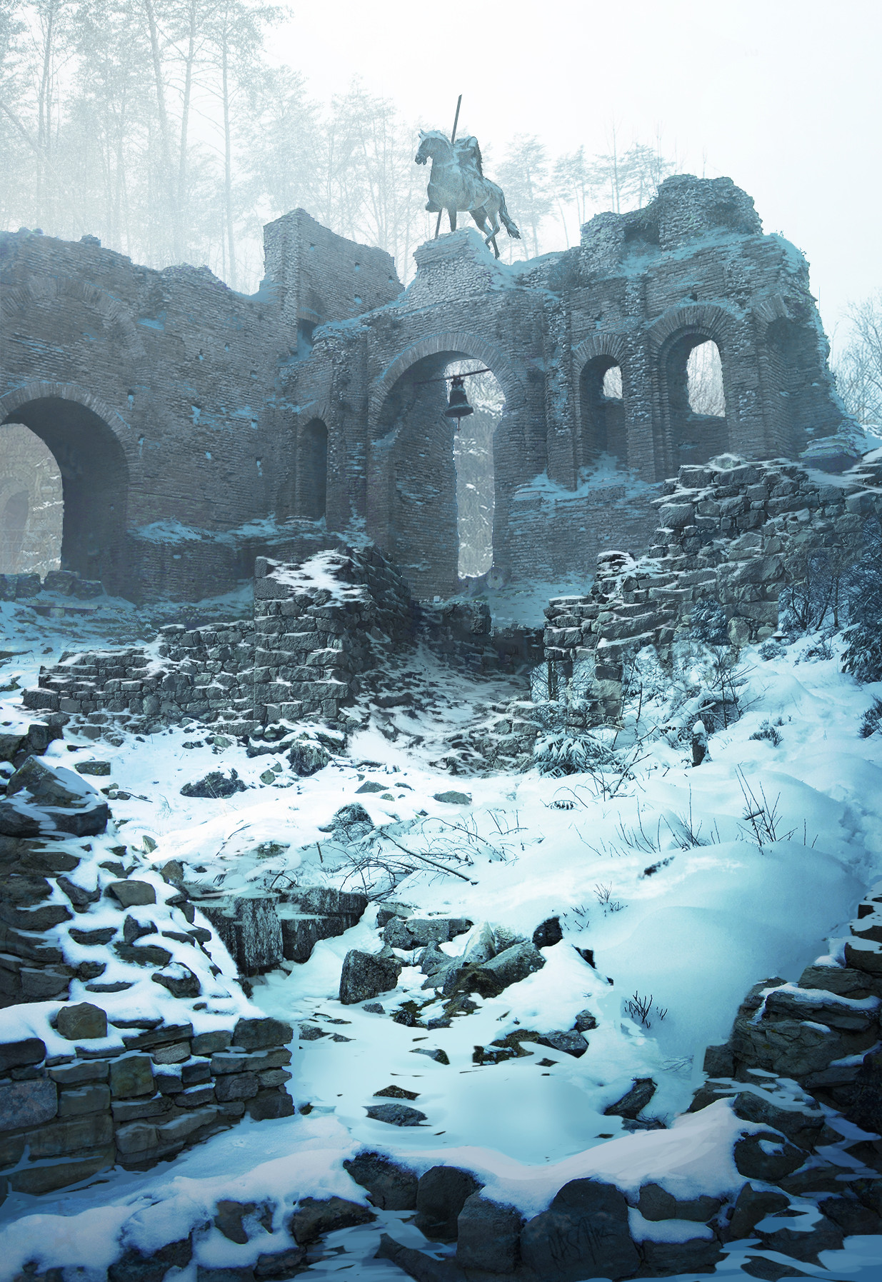Artstation Snowy Bell In The Old Ruins R 233 My A S Diaz