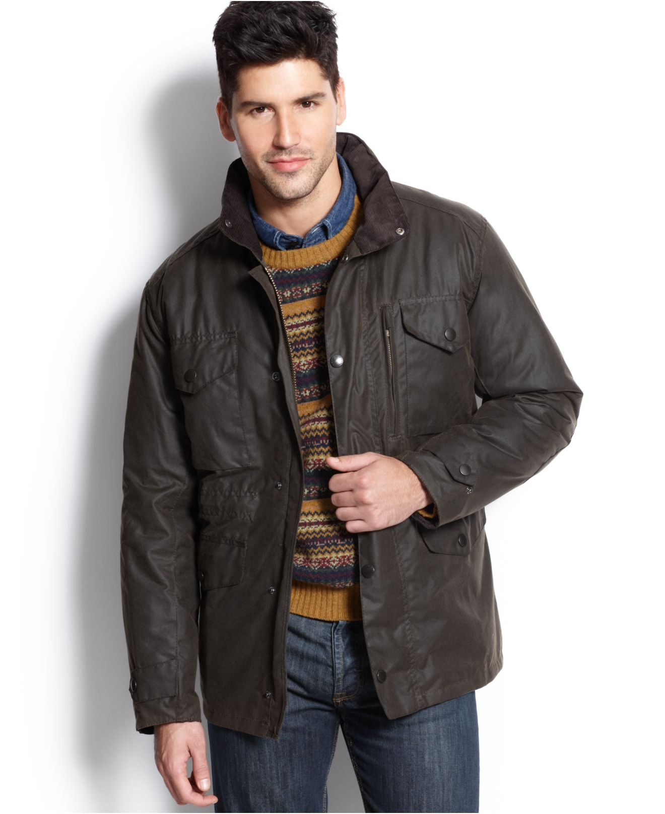 Green Jacket Leather Sleeves