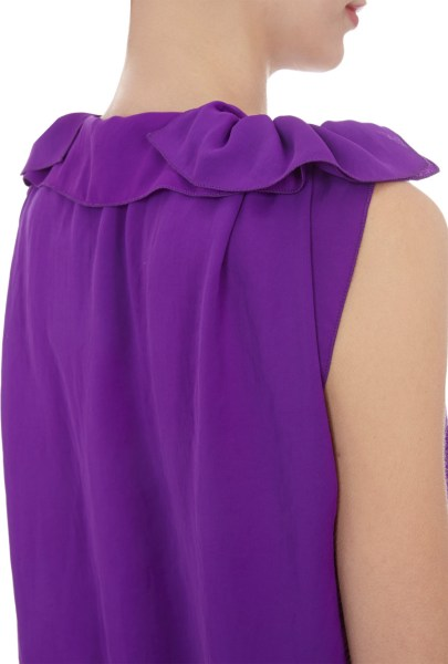 Lanvin Draped front Sleeveless Dress in Purple   Lyst Gallery