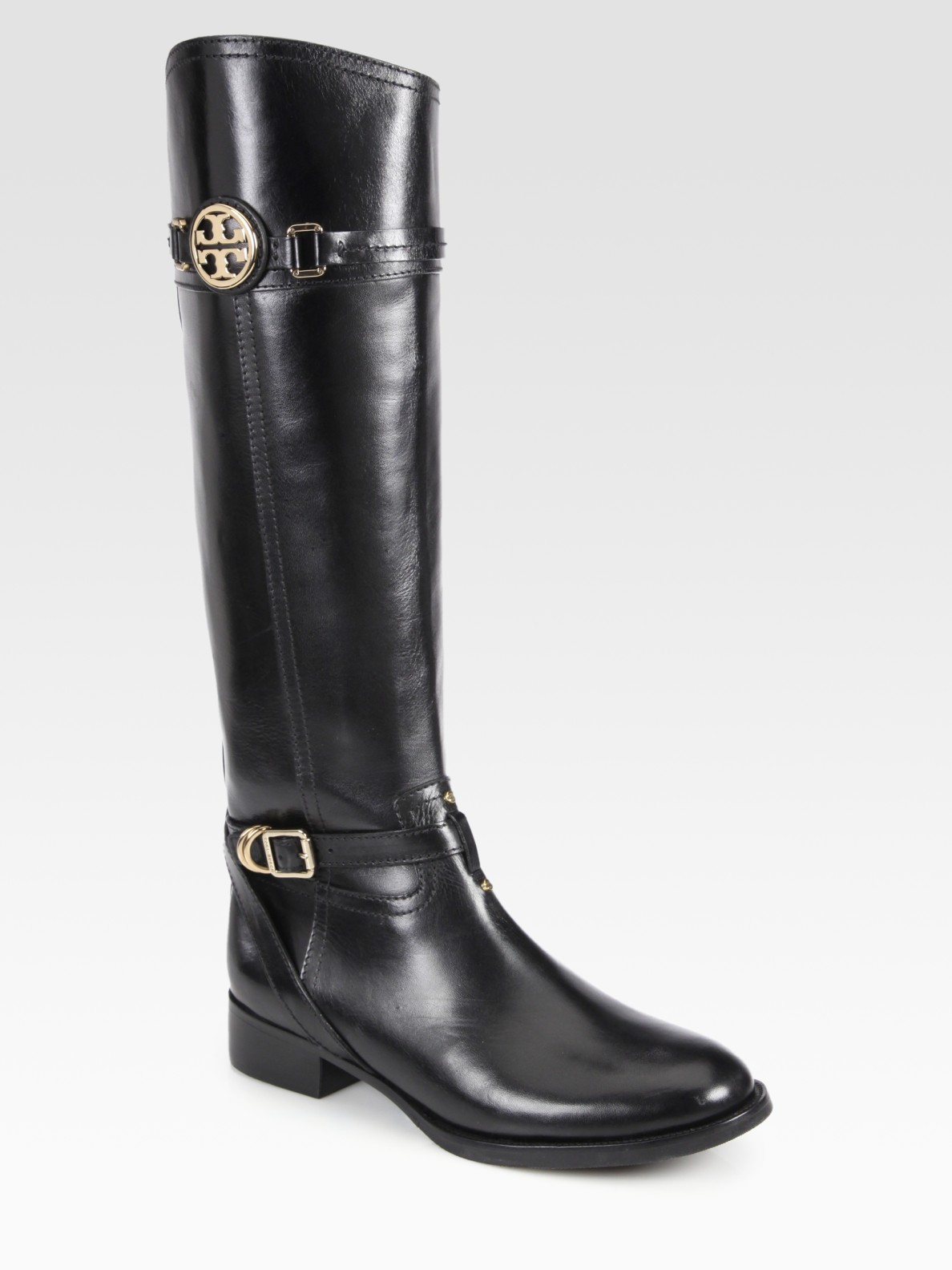 Tory Burch Calista Leather Riding Boots In Black Lyst
