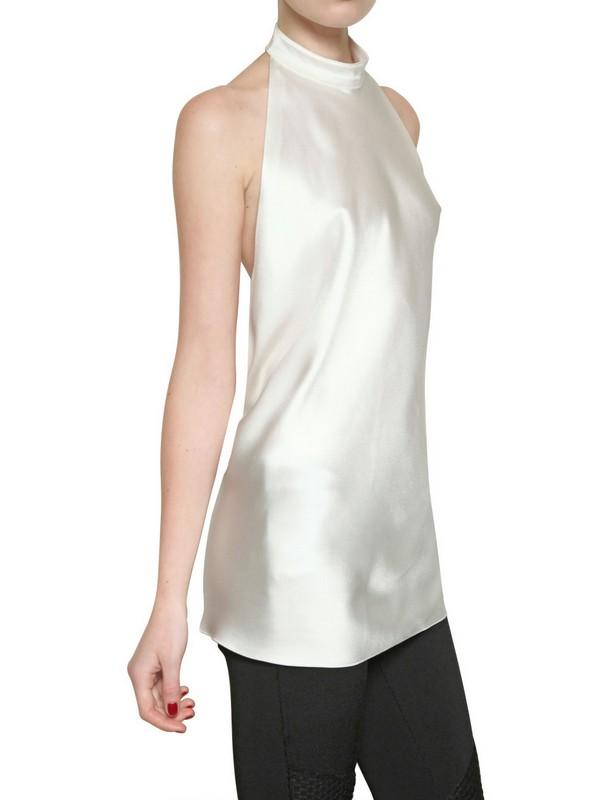 Lyst Balmain Halter Neck Silk Satin Top In White