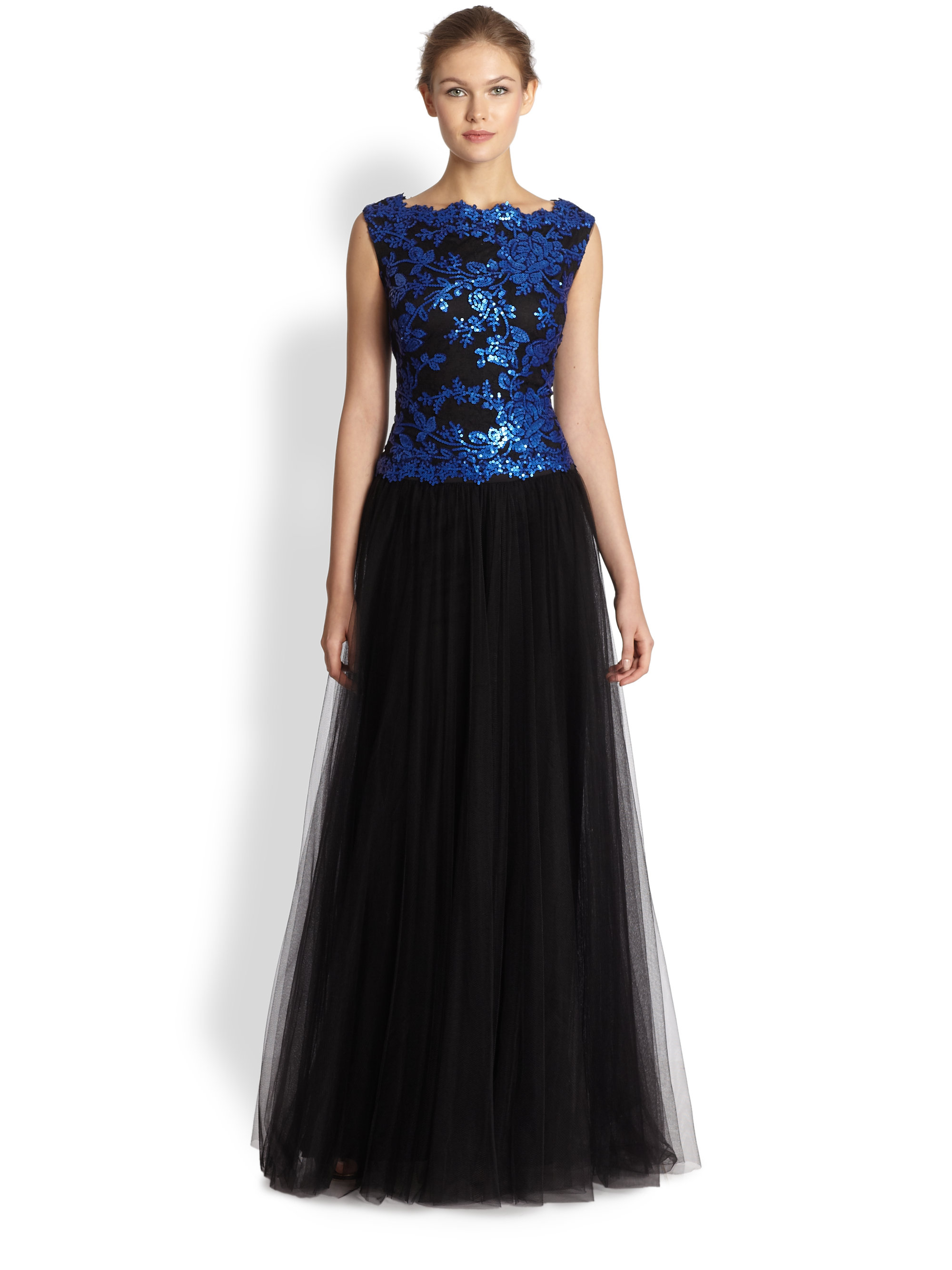 Tadashi Shoji Boatneck Sequin Bodice Gown