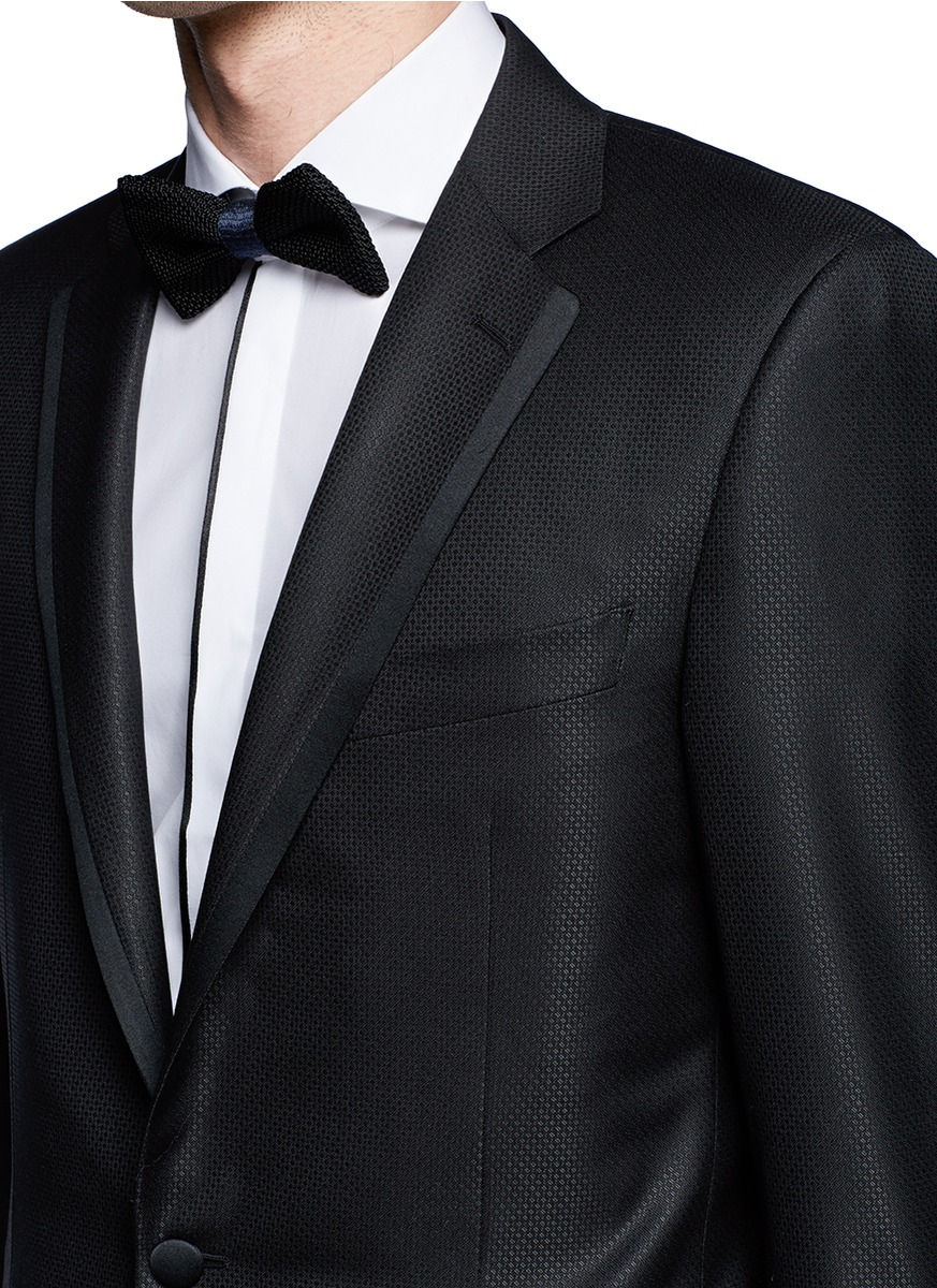 Canali Textured Wool Silk Tuxedo In Black For Men Lyst
