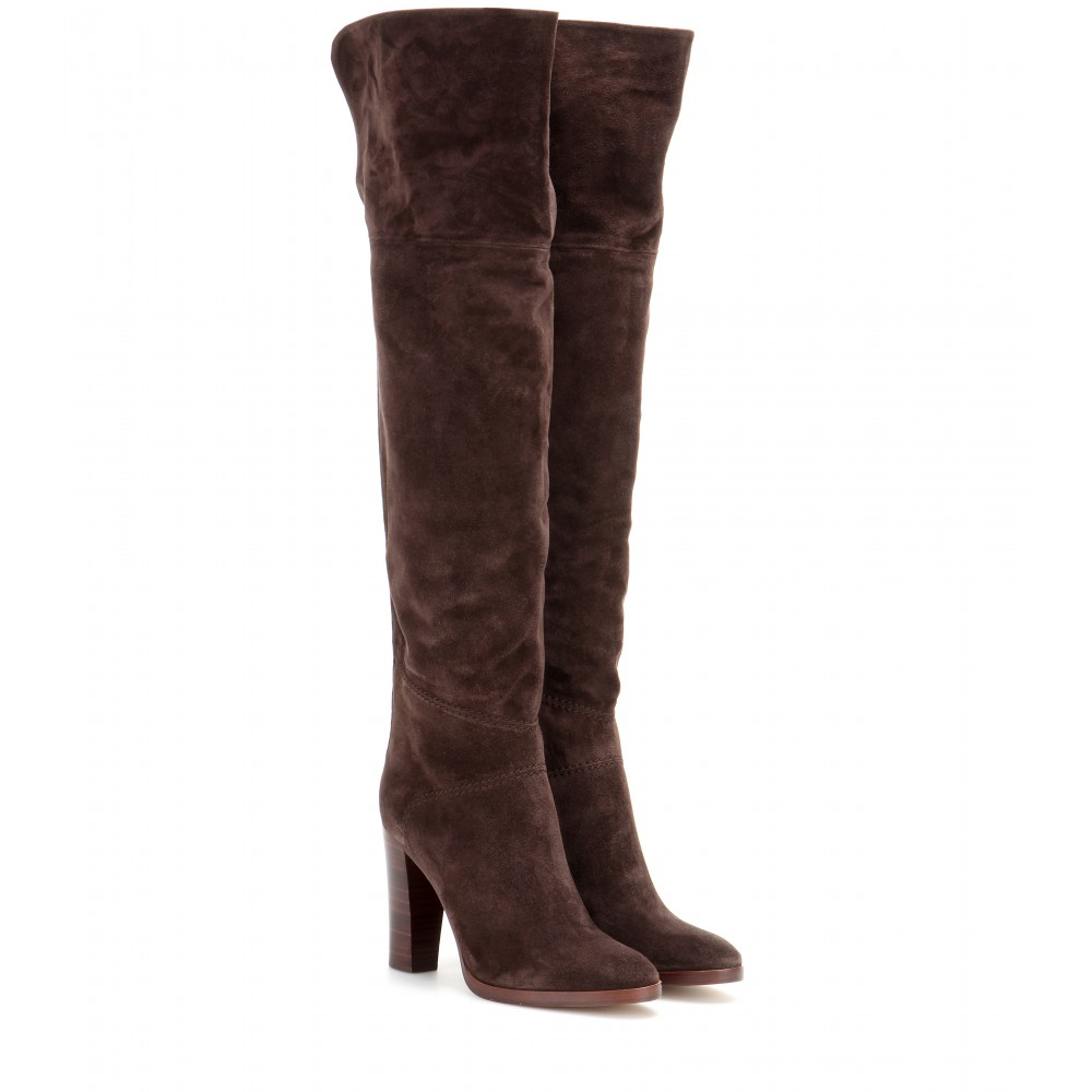Lyst - Chloé Over-The-Knee Suede Boots in Brown
