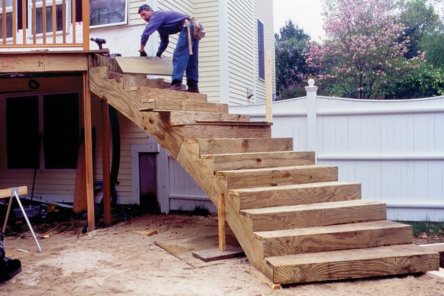 Curved Deck Stairs Professional Deck Builder | Outdoor Deck Stair Treads | Composite Deck | Stringer | Pressure Treated Wood | Stair Stringer | Metal