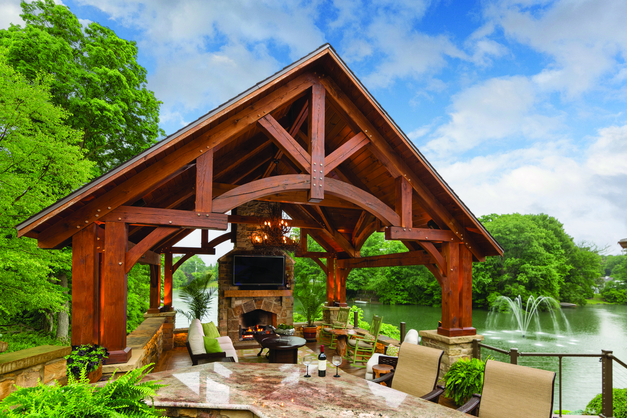 A Timber Frame Pavilion Crafted In The Amish Tradition