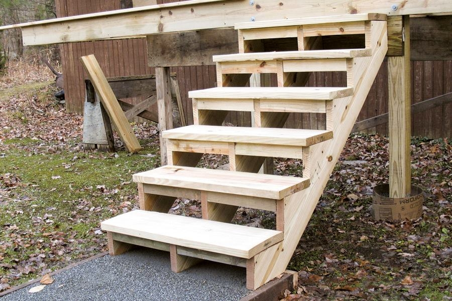 Building And Installing Deck Stairs Professional Deck Builder   Best Wood For Stair Stringers   Framing Square   Stair Landing   Pine Stair   Stair Tread   Deck