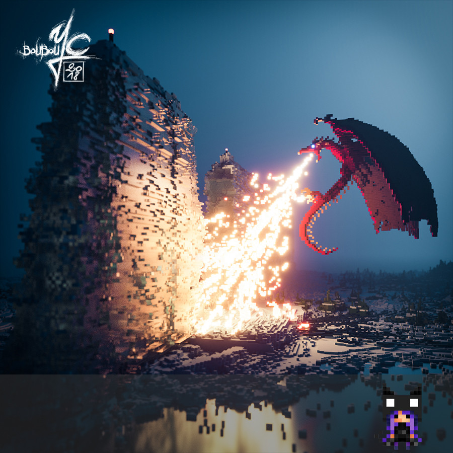 Artstation Magicavoxel Ice And Fire Yannick Castaing