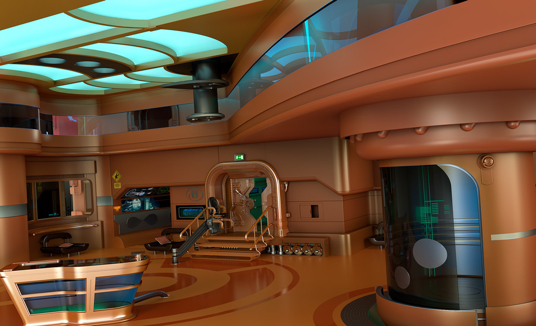 Artstation Sci Fi Hotel Lobby Wip Pascal Deraed