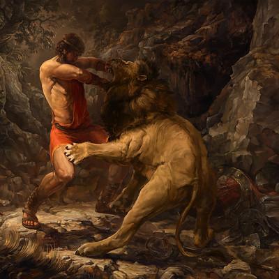 hercules vs nemean lion - 400×400