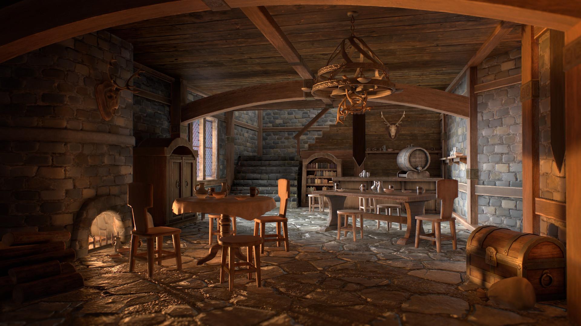 Artstation Medieval Interior Set Ben Liang