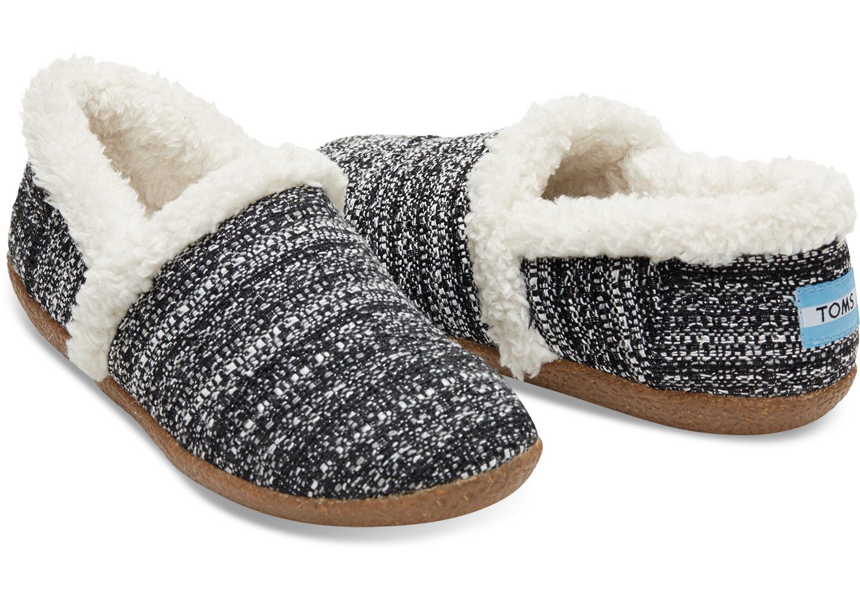 Toms Black White Boucle Women's Slippers in Black | Lyst
