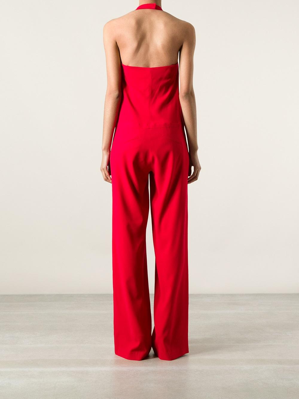 Red Sleeveless Jumpsuit Fashion Ql