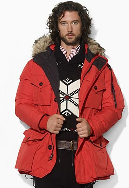 30aede1126c ... wholesale polo ralph lauren mens hooded down parka red windbreaker  anorak e5b62 64a84
