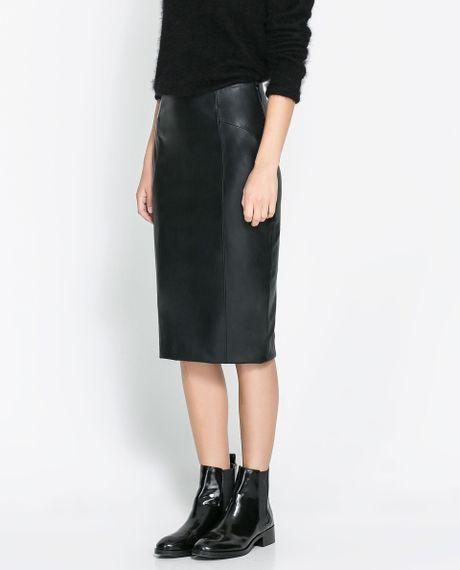 Black Skirt Leather Gloves Leather