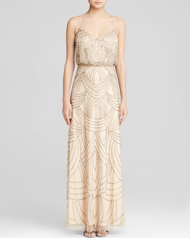 Adrianna Papell Blouson Beaded Long Dress