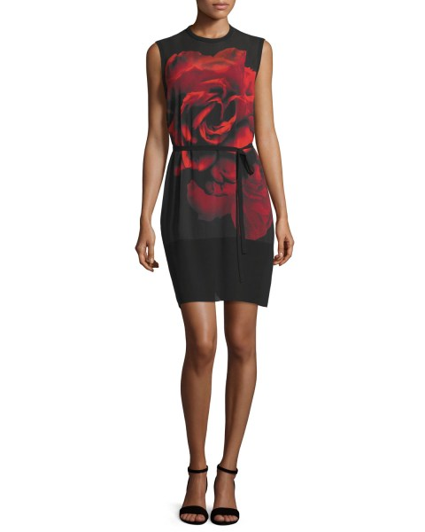 Lyst   Mcq Sleeveless Rose Tunic Dress in Black Gallery