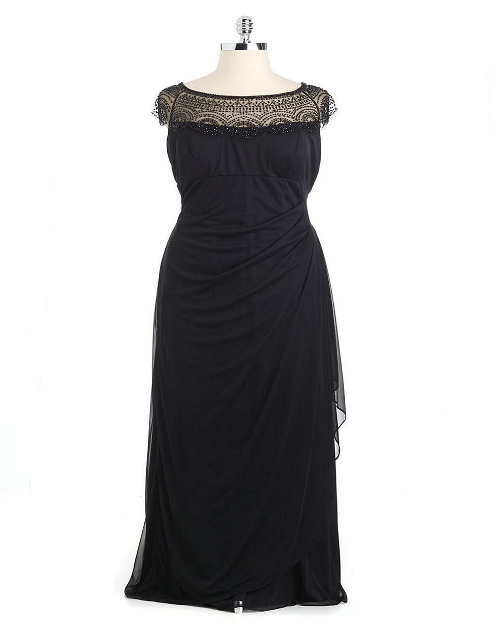 Lyst   Xscape Beaded Illusion Neck Ruched Gown in Black Gallery