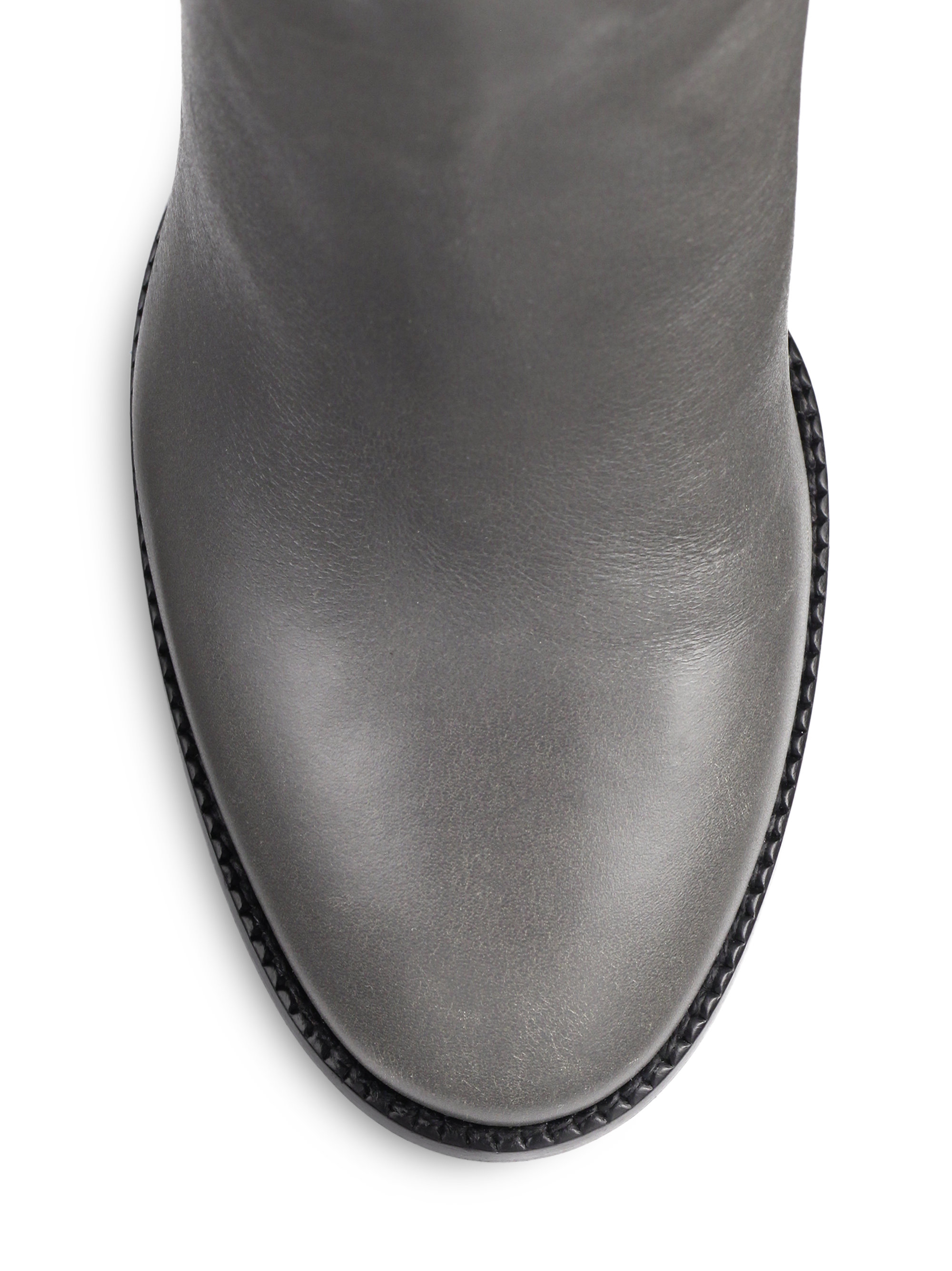 Lyst Burberry Marston Leather Knee High Boots In Gray