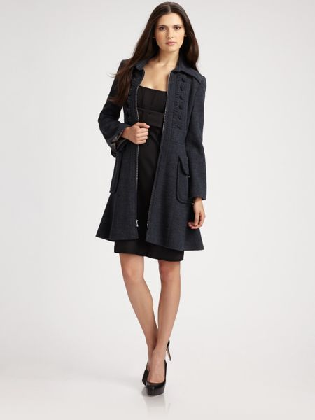 Nanette Lepore Provocative Coat in Blue (black) | Lyst