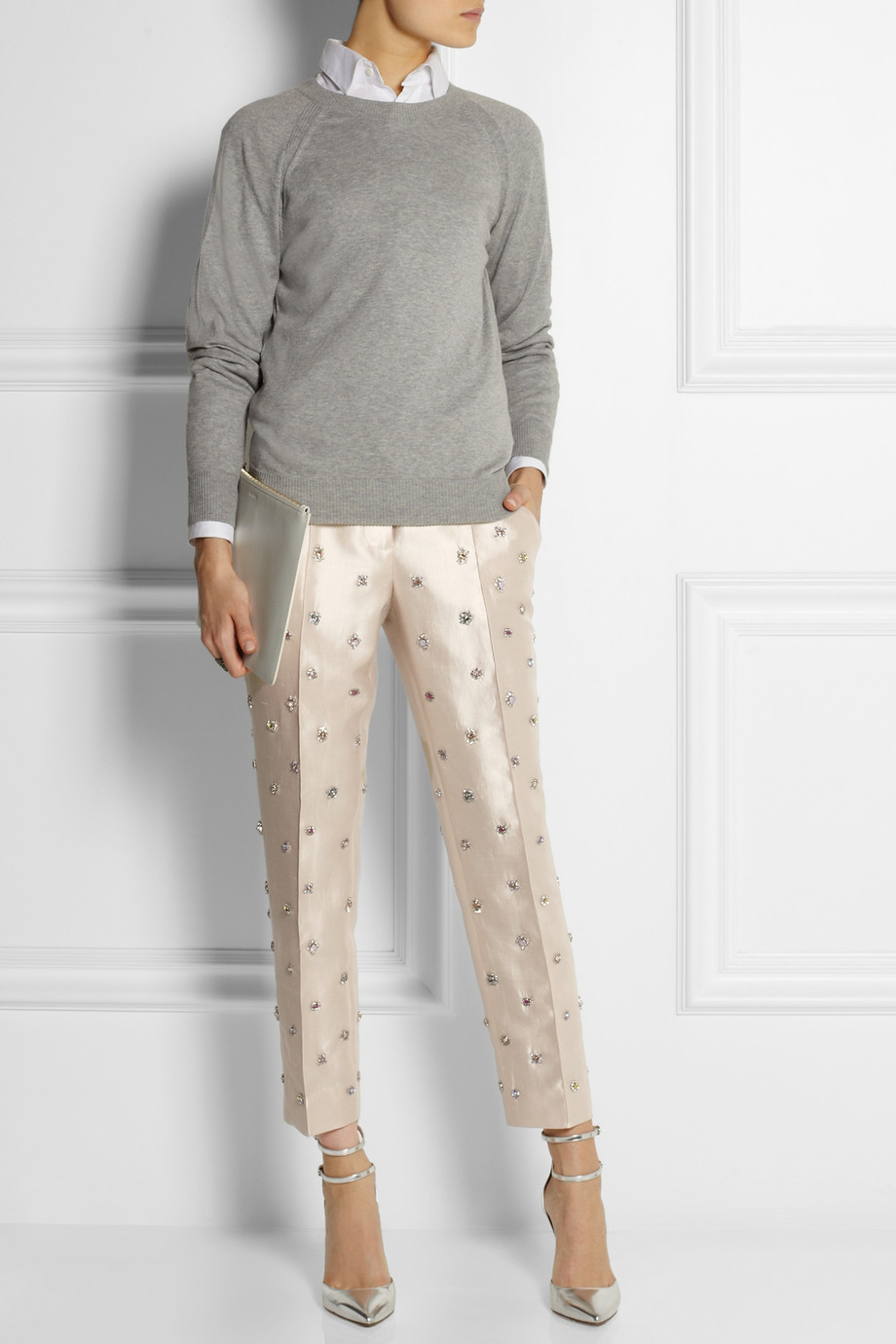 J Crew Collection Embellished Shantung Straight Leg Pants