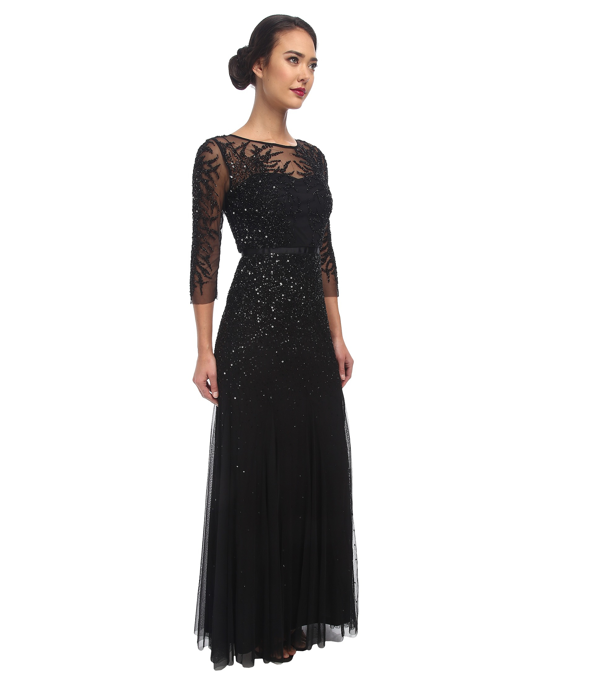 Beaded Chiffon Blouson Gown | Lauren Goss