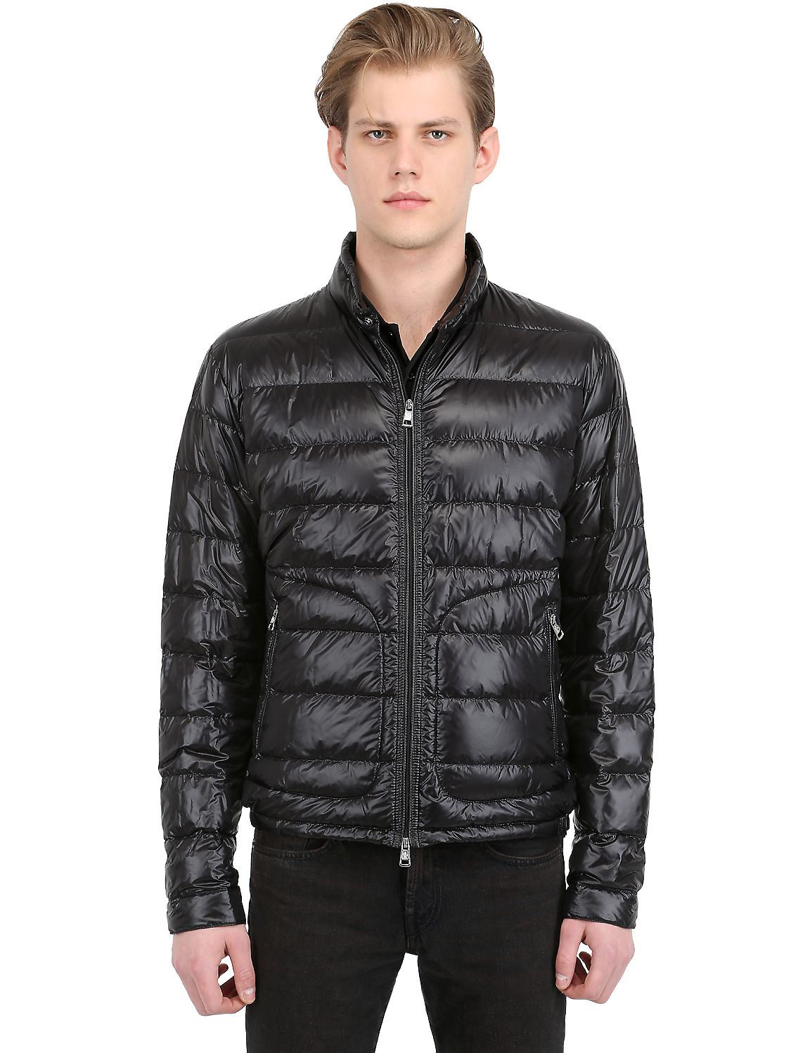 Moncler Acorus Nylon Light Weight Down Jacket In Black For