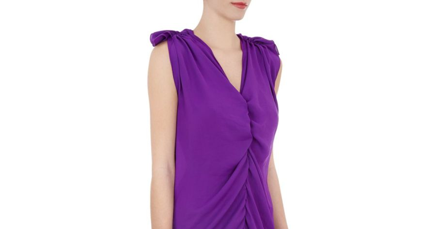 Lanvin Draped front Sleeveless Dress in Purple   Lyst