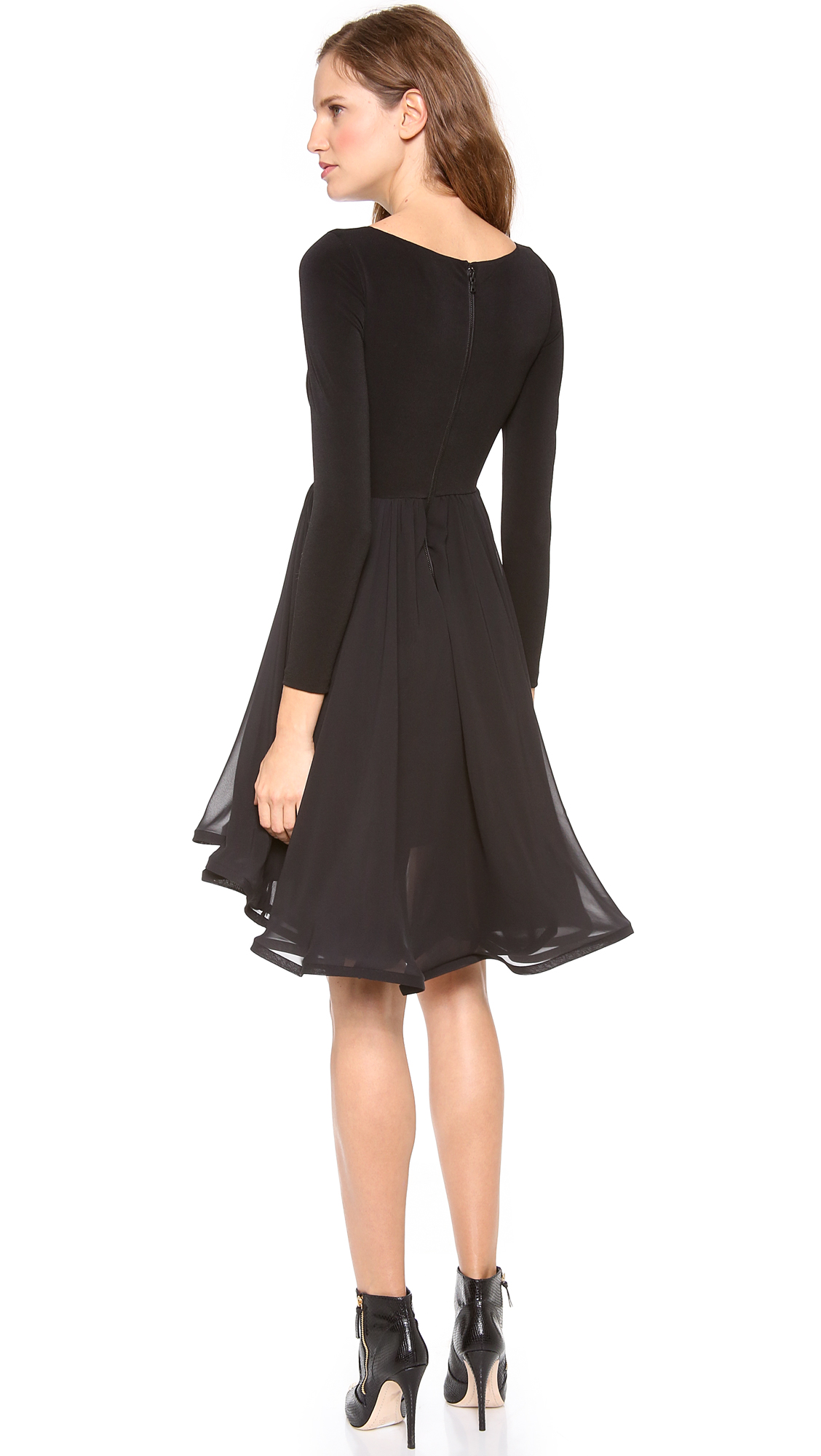 Alice And Olivia Black And White Long Sleeve Dress