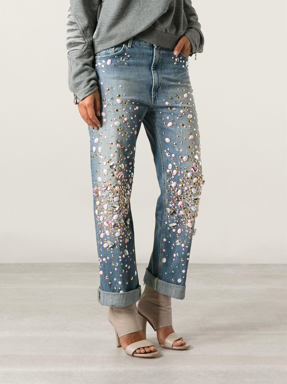 Lyst Dondup Embellished Boyfriend Jeans In Blue