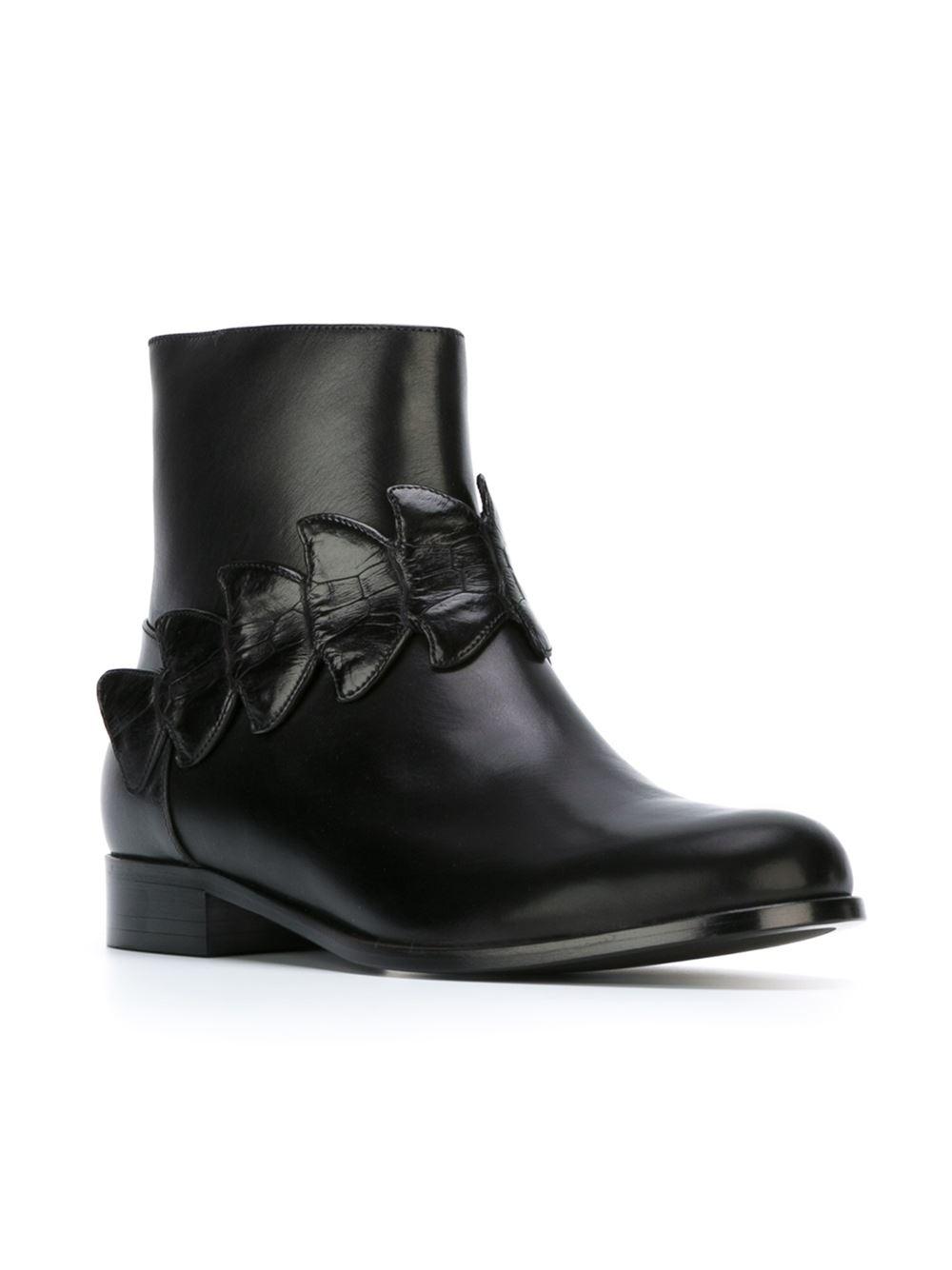 Fendi Crocodile Effect Detail Ankle Boots In Black Lyst