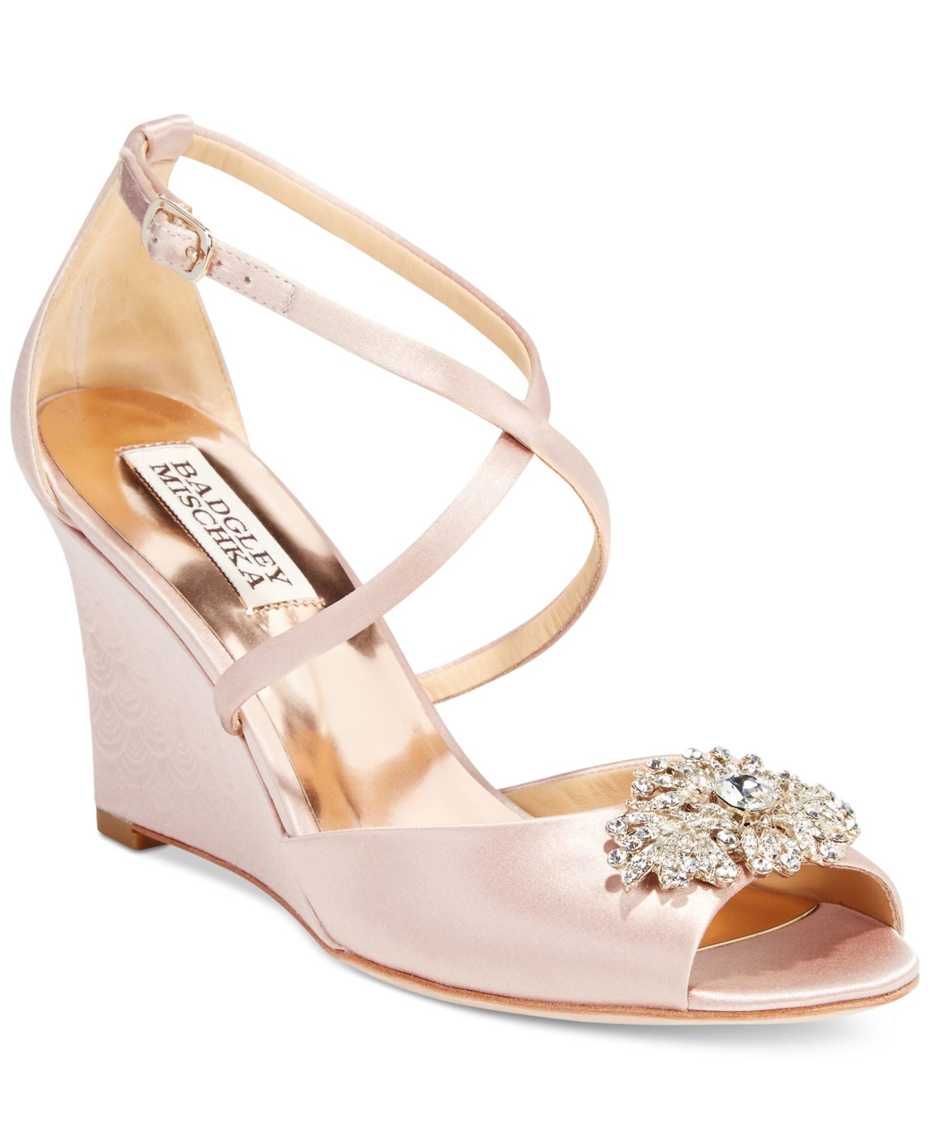 Blush Wedge Wedding Shoes